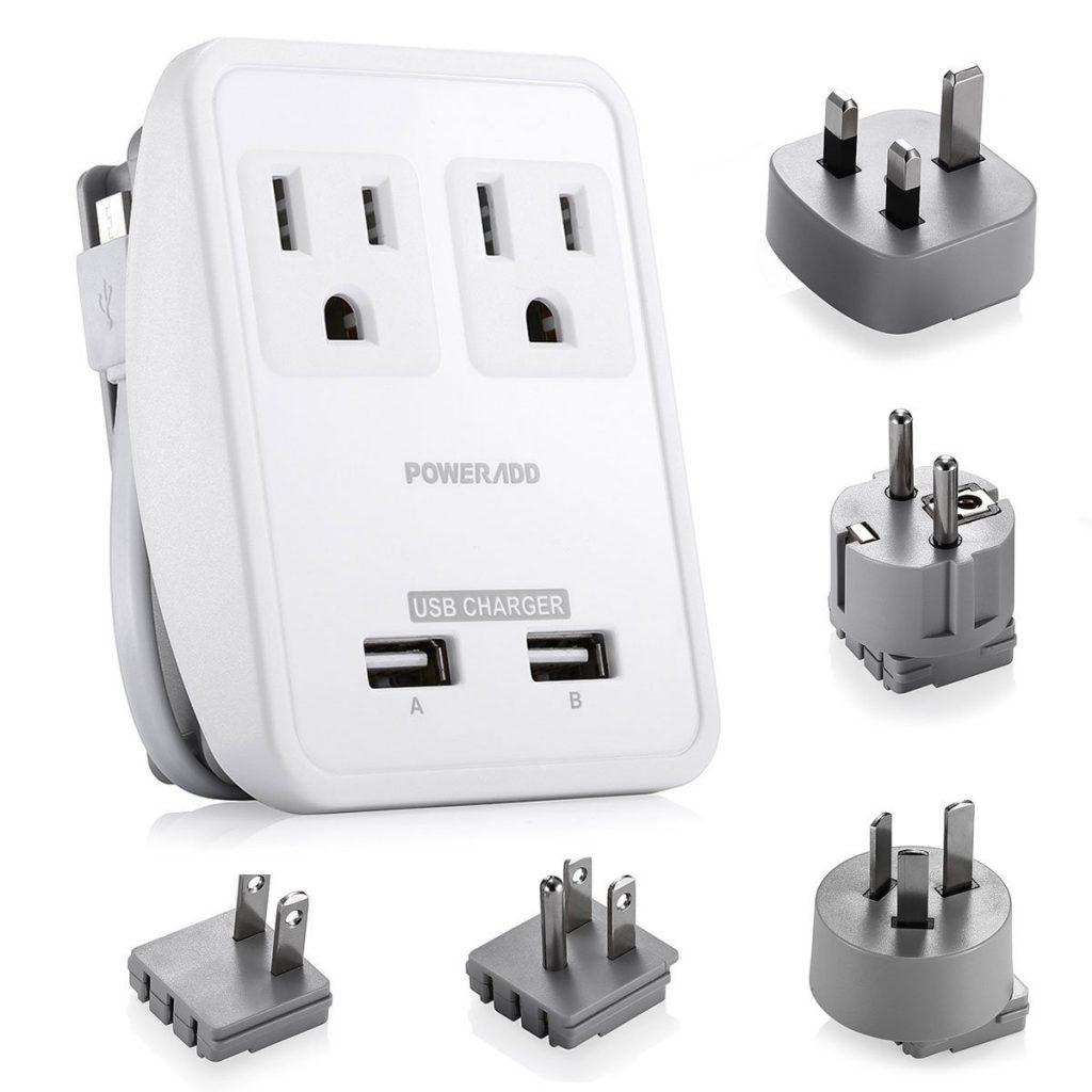 International Travel Charger Power AC Adapter Worldwide Plugs USB Ports