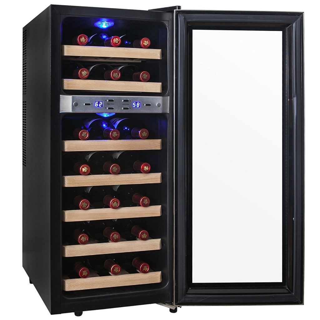 Dual-zone freestanding wine cooler
