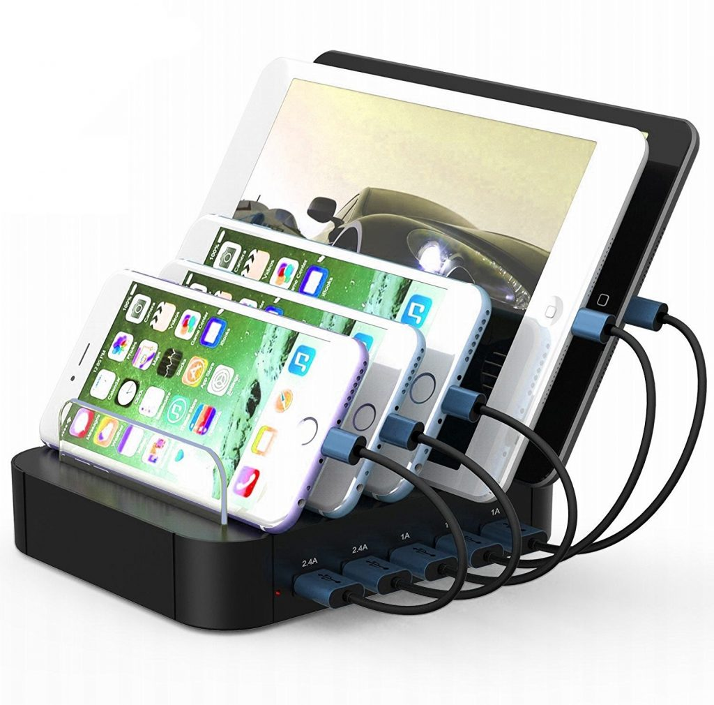 USB Charging Station 5-Port Desktop Organizer for iPhone iPad Tablets