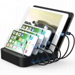 USB Charging Station 5-Port Desktop Stand Organizer for iPhone, iPad, Tablets